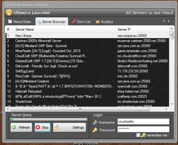 Ultimine Launcher - All servers in one hand Mincraft